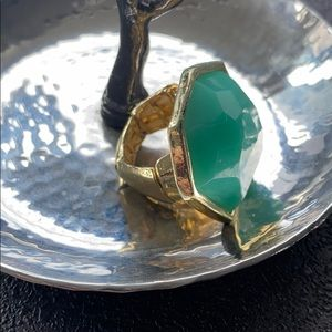 Turquoise and Gold Costume Ring with Elastic Band